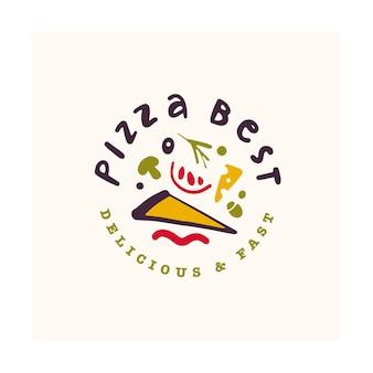 Pizza bar logo design isolato su sfondo bianco. disegnato a mano dell'icona di fast food - simbolo della pizza.