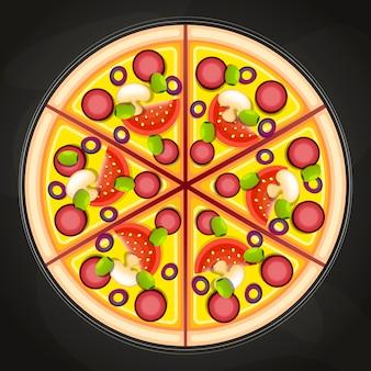 Pizza alla lavagna Vettore Premium