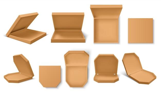 Scatola della pizza. contenitori per alimenti artigianali 3d realistici per il servizio di consegna della pizza, mock up vuoto per l'identità del marchio. scatola vuota vettoriale con coperchio aperto per confezionamento fast food impostato su sfondo bianco