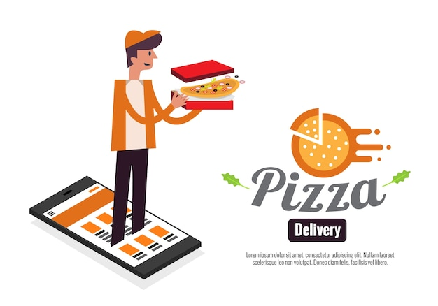 Pizza boy e scatole su smartphone