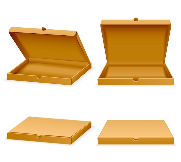 Scatola di cartone per pizza. imballaggio vuoto realistico aperto e chiuso per l'illustrazione degli alimenti a rapida preparazione del trasporto