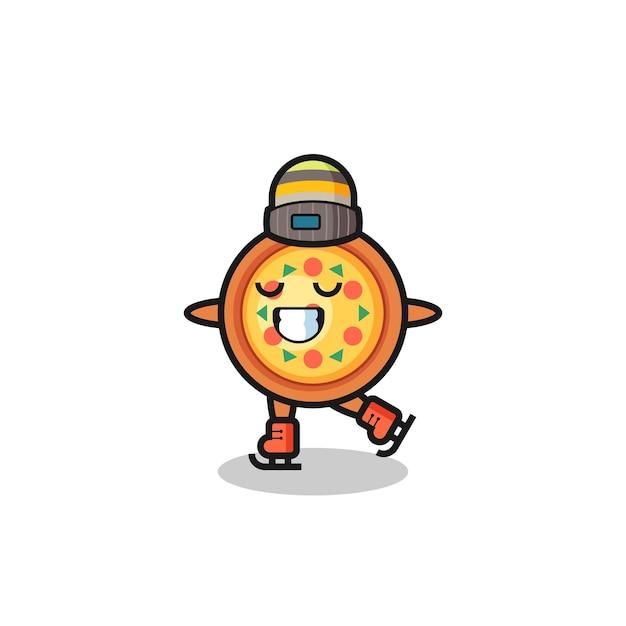 Cartone animato pizza come un giocatore di pattinaggio sul ghiaccio che si esibisce, design in stile carino per maglietta, adesivo, elemento logo