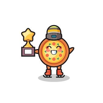 Il cartone animato della pizza come un giocatore di pattinaggio sul ghiaccio tiene il trofeo del vincitore, un design in stile carino per maglietta, adesivo, elemento logo