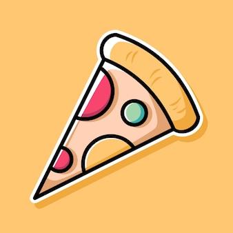 Disegno del fumetto della pizza Vettore Premium