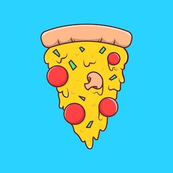 Illustrazione di cartone animato pizza in design piatto