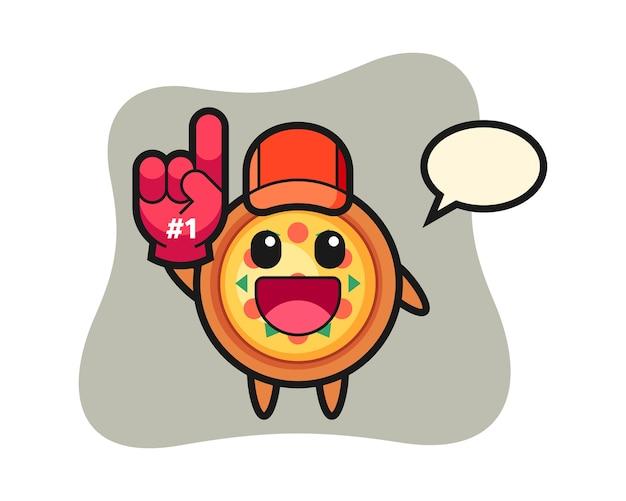 Cartone animato pizza con guanto di fan numero