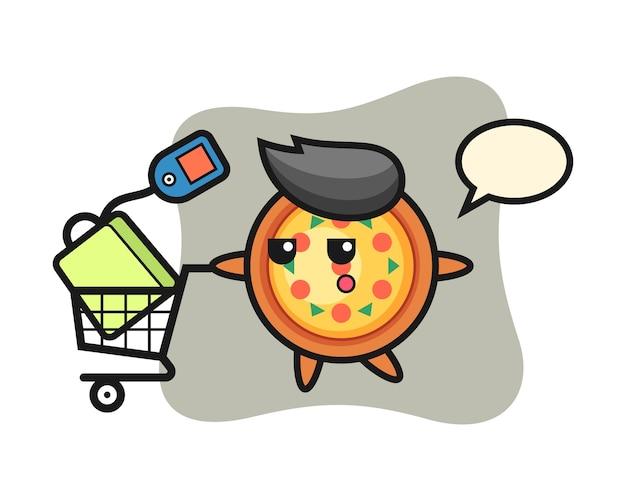 Cartone animato pizza con un carrello della spesa