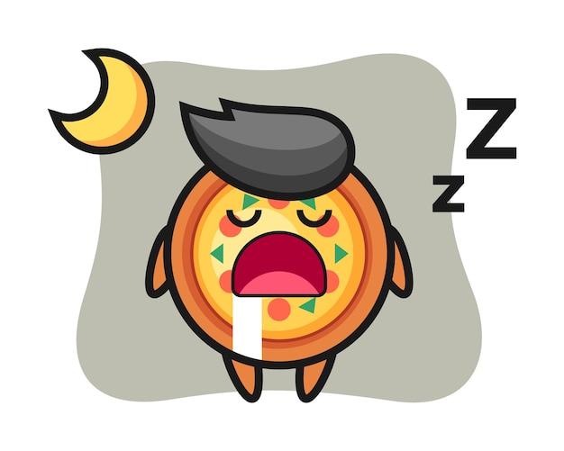 Personaggio della pizza che dorme di notte
