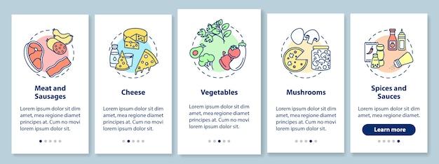Schermata della pagina dell'app mobile di onboarding del costruttore di pizza con concetti