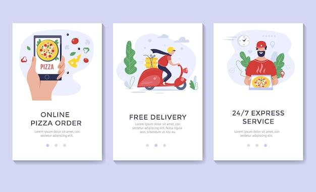 Banner per la consegna della pizza, modelli di app per dispositivi mobili, design piatto dell'illustrazione vettoriale di concetto