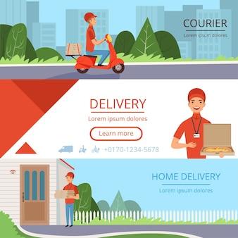 Banner di consegna pizza. ordine di corriere fast food spostando banner orizzontali di industria di contenitori di spedizione di posta