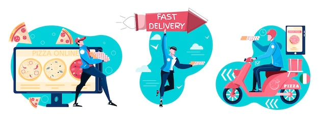 Composizioni per la consegna della pizza set piatto di personaggi maschili del corriere che tengono scatole con pizza ordinata