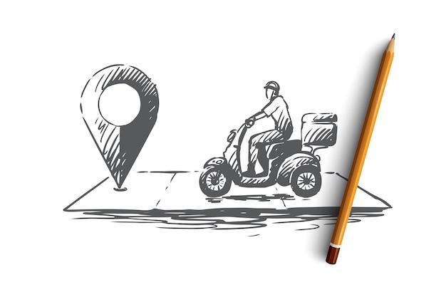 Concetto di consegna della pizza. uomo di consegna che va in bicicletta per indicare sulla mappa. illustrazione di schizzo disegnato a mano