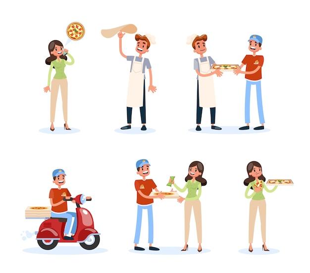 Set di istruzioni per la consegna della pizza. processo di ordine alimentare.