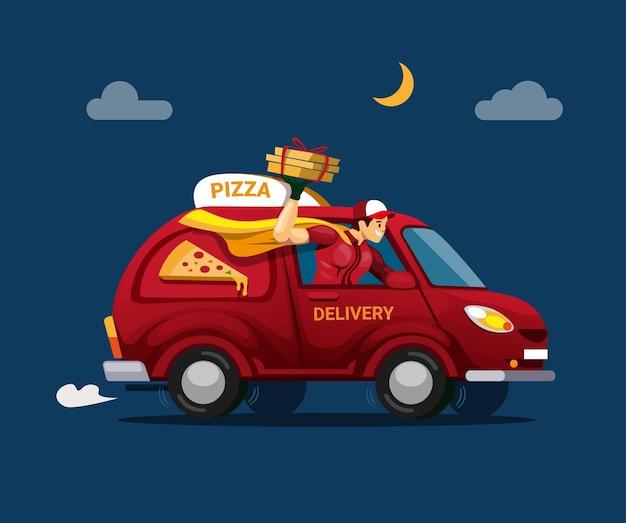 Illustrazione di servizio di consegna pizza