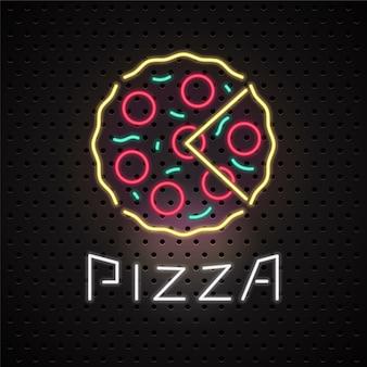 Insegna al neon del servizio di consegna pizza