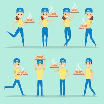 Set per la consegna della pizza. uomo e donna con scatole di cartone.