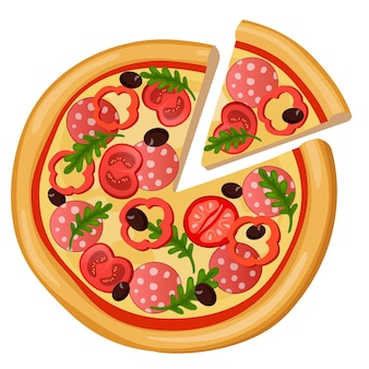 Pizza dettagliata icona web stile piatto