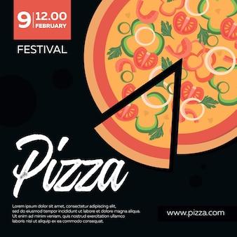 Festa della pizza, manifesto. pizza con ingredienti su uno sfondo scuro. concetto di design pizzeria per caffè, ristoranti.