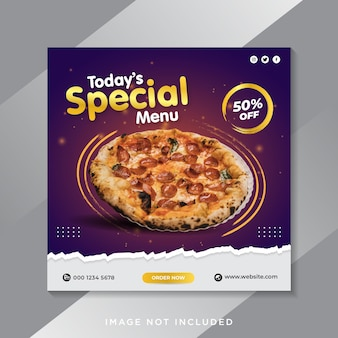 Pizza cibo menu promozione social media instagram post banner template