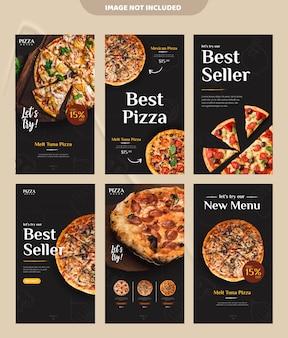 Modello dell'insegna di storia del instagram di media sociali di promozione del menu dell'alimento della pizza