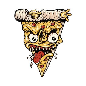 Maglietta dell'illustrazione del mostro dell'alimento della pizza