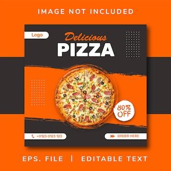 Banner di vendita di cibo per pizza per post sui social media