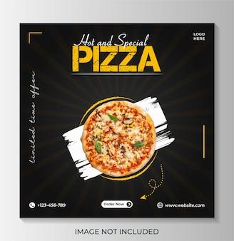 Modello di post banner per social media cibo pizza