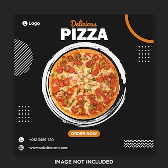 Modello dell'insegna di media sociali dell'alimento della pizza