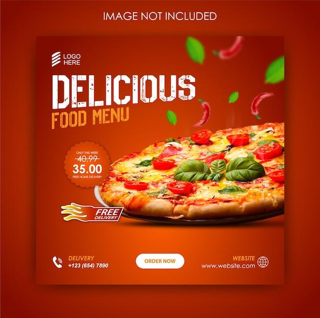 Pizza food promozione sui social media e banner post template
