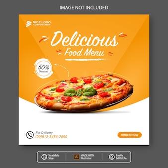 Modello di social media cibo pizza