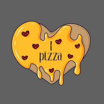 Cuore di pizza su sfondo grigio