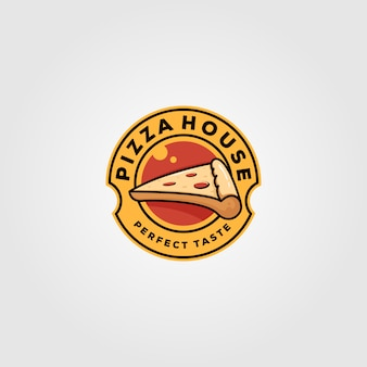 Progettazione d'annata dell'illustrazione dell'alimento di logo della casa della pizza