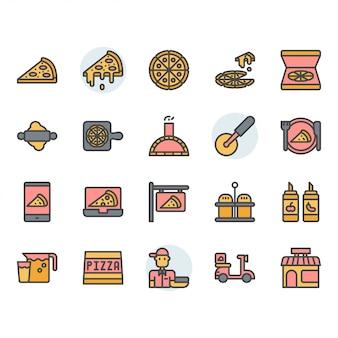 Icona di pizza e set di simboli