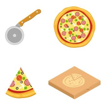 Collezione di icone di pizza cibo silhouette. coltello da cucina attrezzatura da cucina, icona di fetta di pizza. scatola per pizza