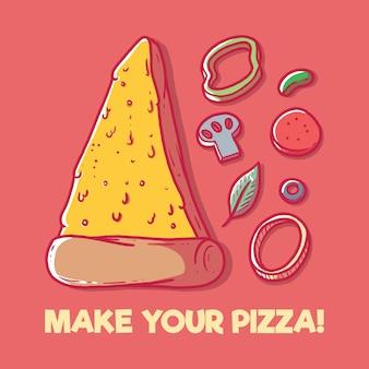 Ingredienti per la pizza. menu, fast food, gioco, concetto di design nutrizionale