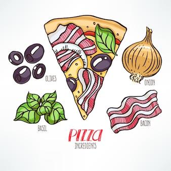 Ingredienti per la pizza. pezzo di pizza con pancetta. illustrazione disegnata a mano