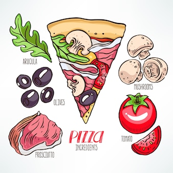 Ingredienti per la pizza. pezzo di pizza con prosciutto