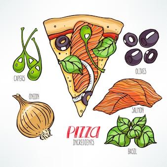 Ingredienti per la pizza. pezzo di pizza con salmone. illustrazione disegnata a mano