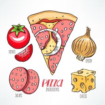 Ingredienti della pizza e pezzo di pizza