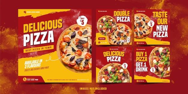 Modello di pizza instagram per la pubblicità sui social media
