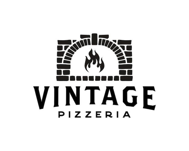 Pizza logo forno a legna creativo e modello di progettazione del logo del concetto di cottura a legna