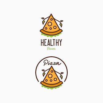 Modello di progettazione di logo di pizza. logo di pizza sana per bar e ristorante