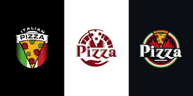 Modello di pizza logo disegno vettoriale