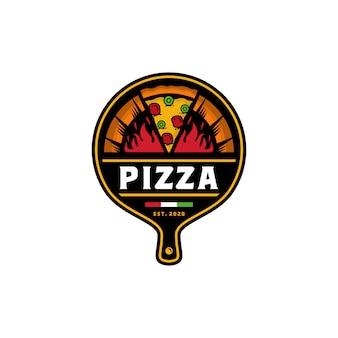 Modello di pizza logo design vettoriale