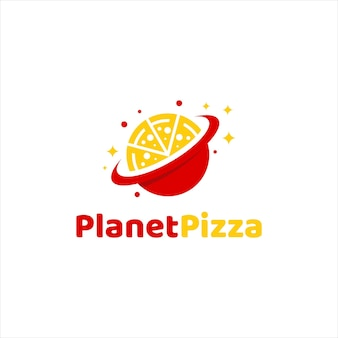 Logo della pizza per fast food e logo del pianeta, semplice stile piatto