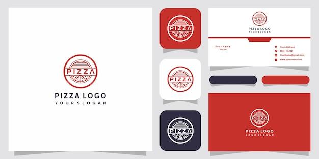 Disegno del modello di logo di pizza per pizzeria