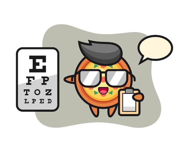 Mascotte della pizza come oftalmologia