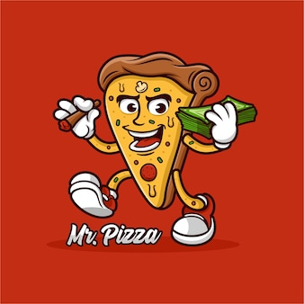 Disegno della mascotte della pizza