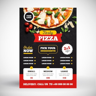 Concetto di menu di pizza
